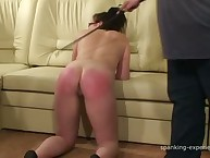 Bad brunette with cool ass was caned