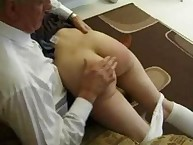 Shy young gal was spanked