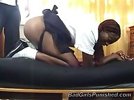 Black slut was spanked