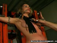Sexy bound girl was strapped