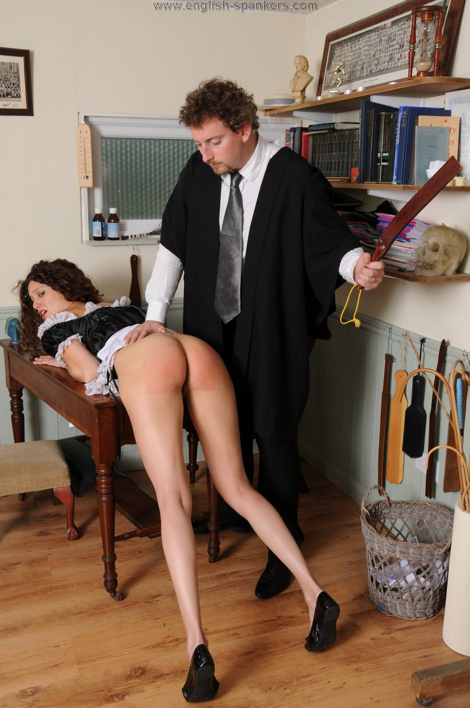 Teacher spanking and talking dirty to her student