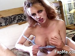 Busty MILF beauty rubbing and sucking huge cock
