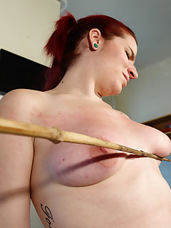 4 of Handcuffed busty tess got hard bullwhipping pain
