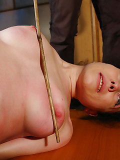 4 of Spanked and whipped Rose in bondage