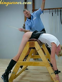 16 of Pretty blonde was caned