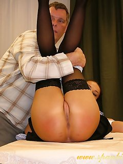 16 of Teen girl spanked on the table