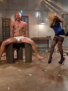 12 of The busty mistress punished a boy and sat on his face by pussy