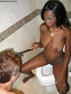 16 of Mistress pisses for slaveboy
