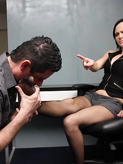 12 of Maggie enjoys a relaxing foot massage and worship in office