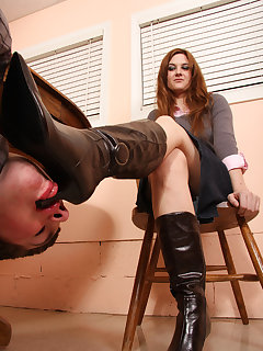 12 of Jennifer's leather boots needs constant shining by her slave's tongue